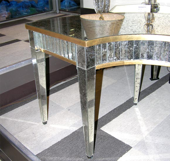 Rare Antique Mirrored Demilune Cocktail Table At 1stdibs