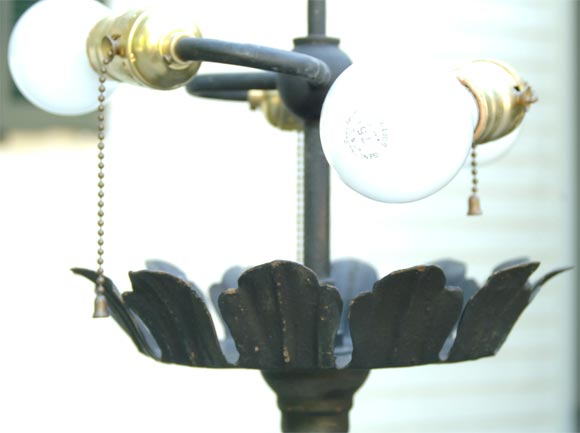 Pair of Wrought Iron Floor Lamps In Good Condition For Sale In Stamford, CT