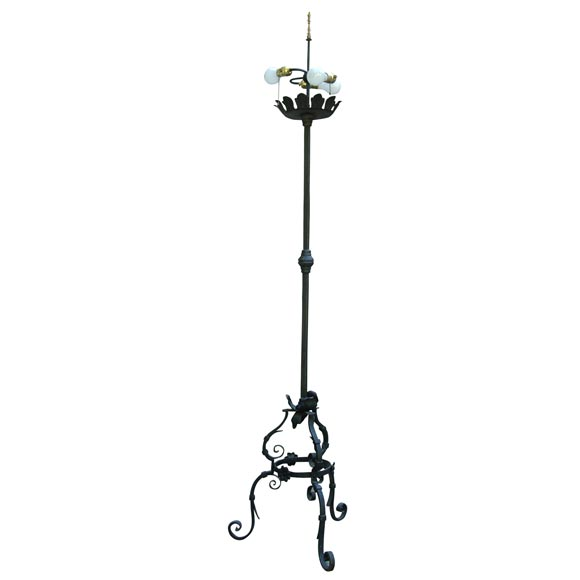 Pair of Wrought Iron Floor Lamps For Sale