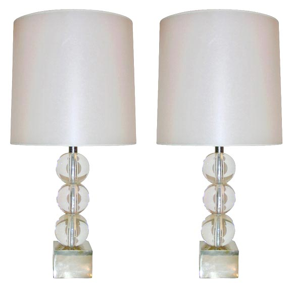 pair of three stacked crystal ball table lamps at 1stdibs. Black Bedroom Furniture Sets. Home Design Ideas