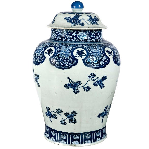 Chien Lung Chinese Blue and White Temple Jar