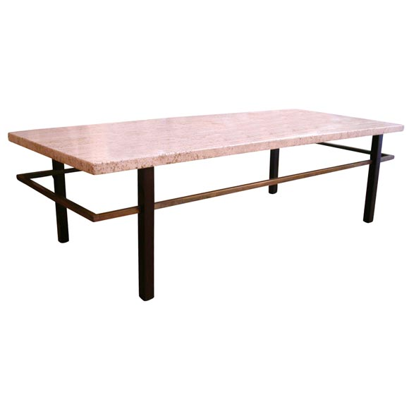 Harvey Probber Coffee Cocktail Table Travertine Top