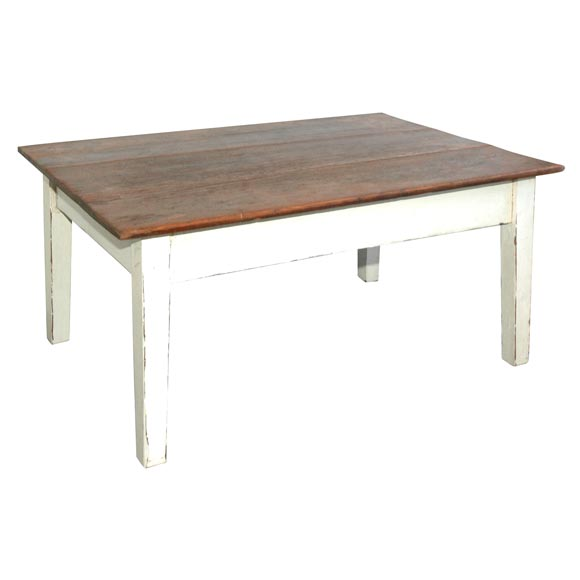 19thc Original White Painted Farm Table Coffee Table At 1stdibs