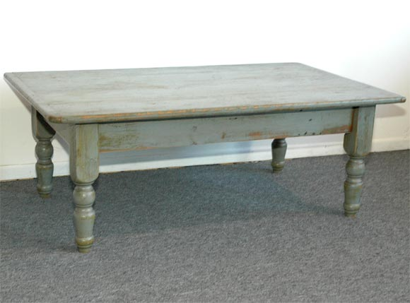 19thc blue grey painted coffee farm table from new england for Coffee table 48 x 30