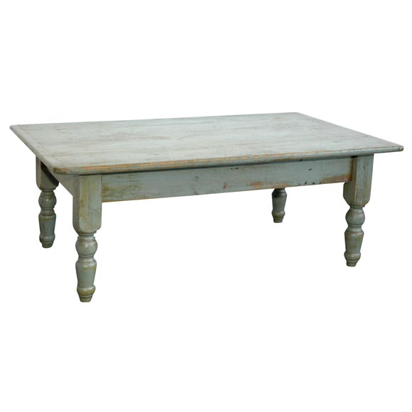 19thc Blue Grey Painted Coffee Farm Table From New England