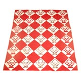 19THC RED & WHITE BASKETS WITH CHINTZ INTERIOR PATCHES  QUILT
