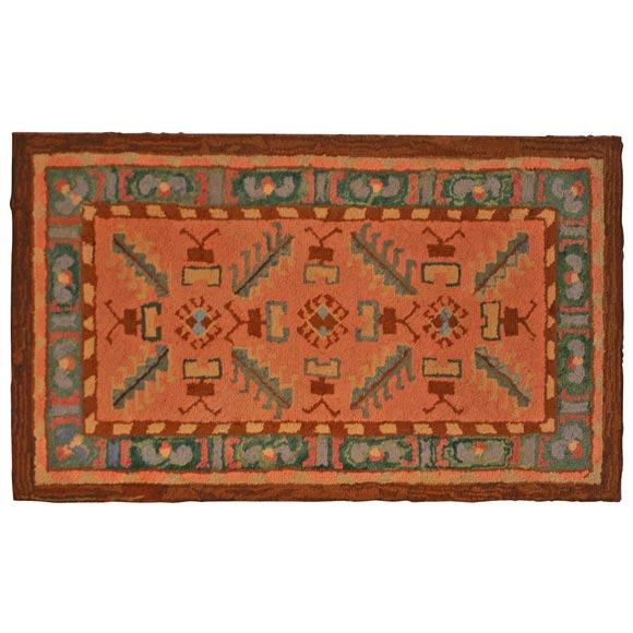 1930's American Hooked Indian Design Rug At 1stdibs