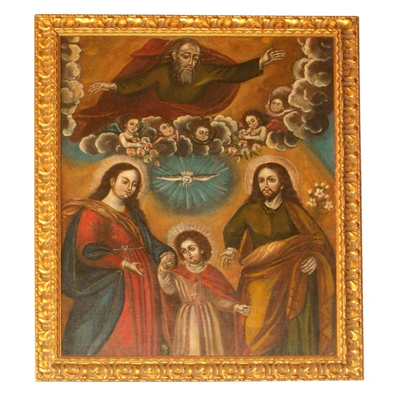 Large 18th century Spanish Colonial Religious Painting
