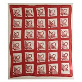 19THC MOUNTED RED AND WHITE BASKET  CRIB QUILT