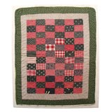 19THC ONE PATCH DOLL QUILT/MOUNTED