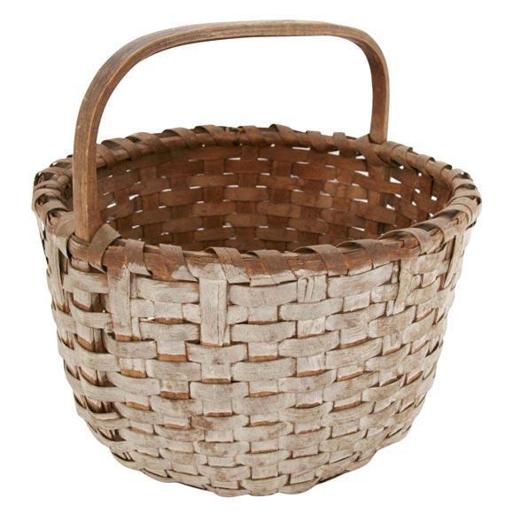 19thc Large Original White Painted Basket At 1stdibs