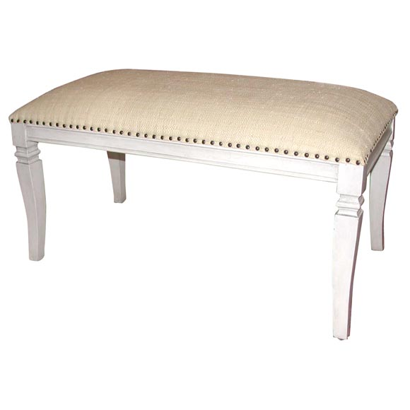 White painted bench with raffia upholstered seat at 1stdibs White upholstered bench