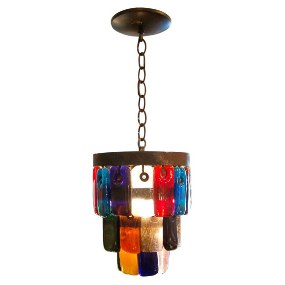 Mexican Mid Century Multi Colored Hall Fixture At 1stdibs