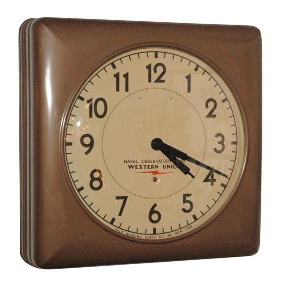 Western Union Electric Wall Clock At 1stdibs