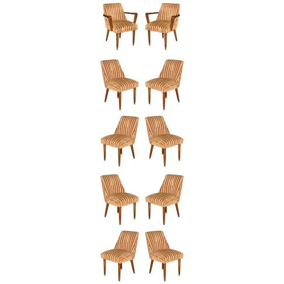 Sleek set of ten upholstered dining chairs at 1stdibs for Sleek dining room furniture