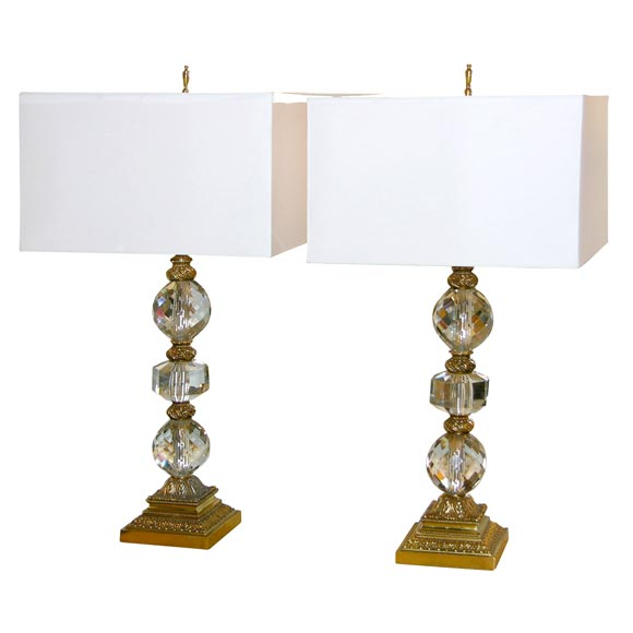 Pair of Table Lamps in Brass with Faceted Crystal Spheres