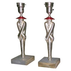 Pair of Chinese figure lamps