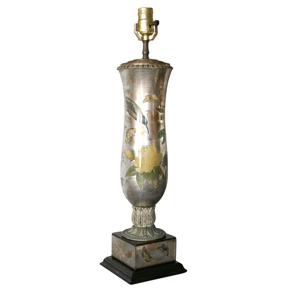 Decoupage Mercury Glass Table Lamp At 1stdibs