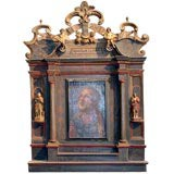 19th c. oil painting in elaborate carved  wooden frame