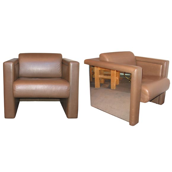Two Unusual Mirror And Leather Armchairs By Haussmann For