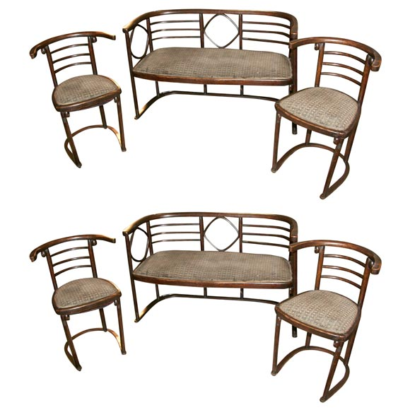 set of 2 chairs and 1 matching bench at 1stdibs