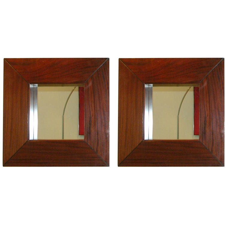 Pair of Mahogany-Framed Mirrors 1