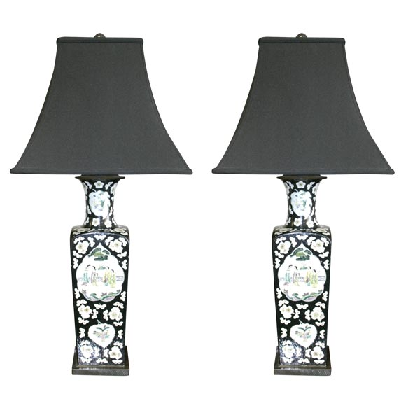 Very Chic Pair of Deco Period Lamps at 1stdibs