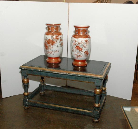 Painted Wood and Gilt Cocktail Table with Black Marble Inset
