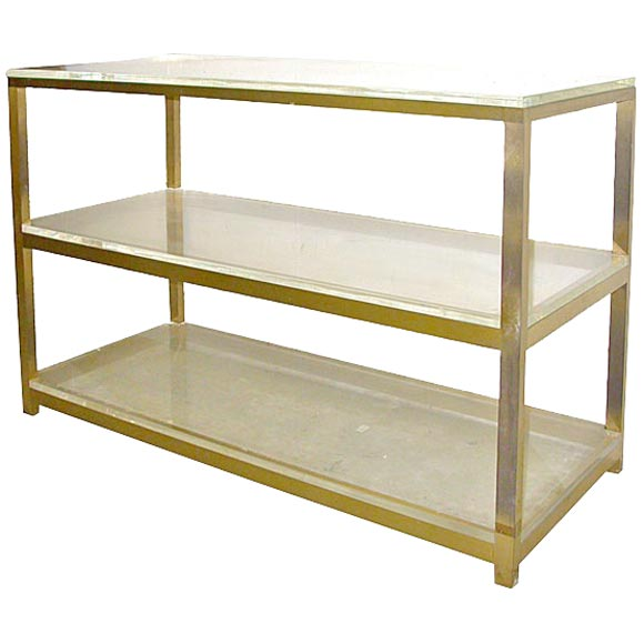Custom made 3 shelf plexi glass and brass etagere at 1stdibs - Etagere cases carrees ...