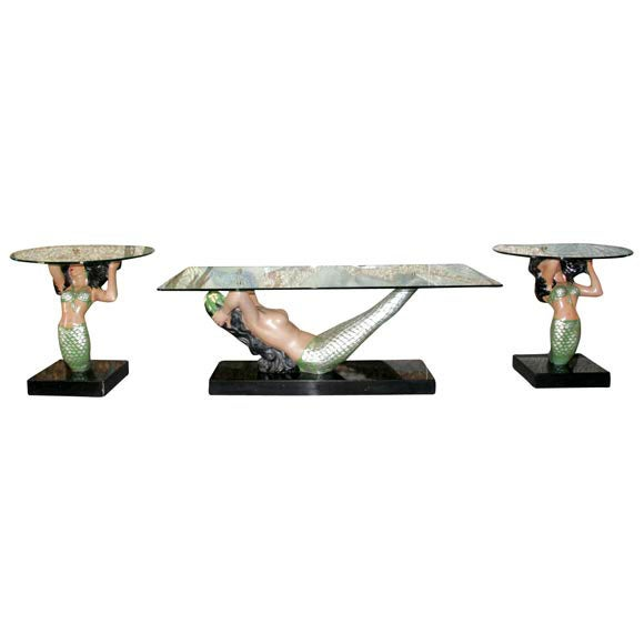 1950's Mermaid Coffee Table With 2 Side Tables At 1stdibs