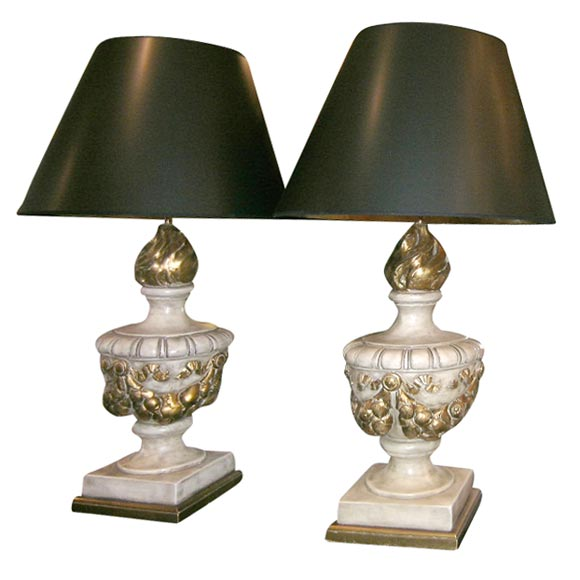 PAIR OF LARGE ORNATE URN SHAPED LAMPS WITH GARLAND SWAGS