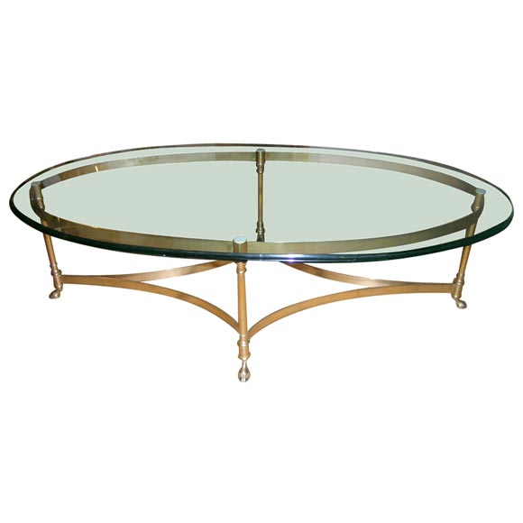brass base oval coffee table at 1stdibs