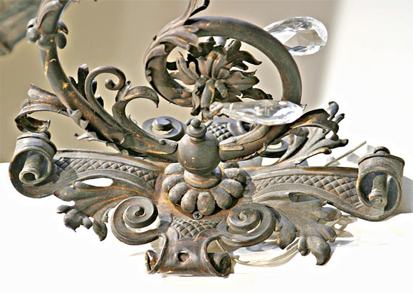 19th Century Iron and Crystal Sconces 2