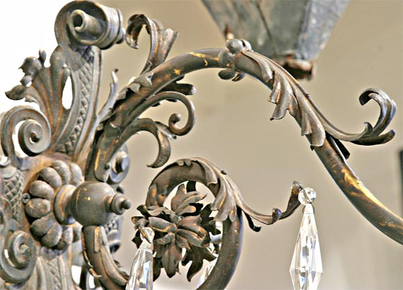 19th Century Iron and Crystal Sconces In Good Condition For Sale In New Orleans, LA
