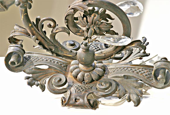 19th Century Iron and Crystal Sconces For Sale 1