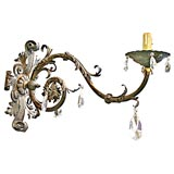 19th Century Iron and Crystal Sconces