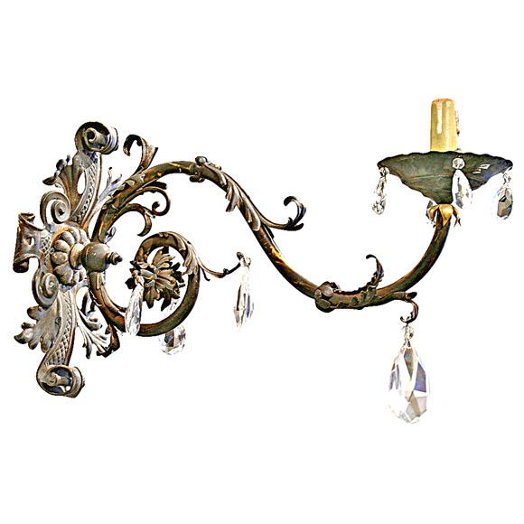 19th Century Iron and Crystal Sconces For Sale