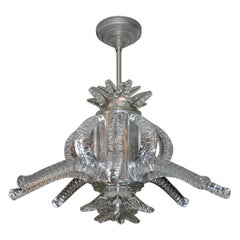 1950s Crystal Chandelier by Marc Lalique