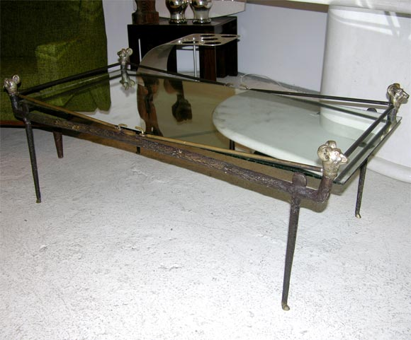 Great italian hand forged bronze coffee table at stdibs