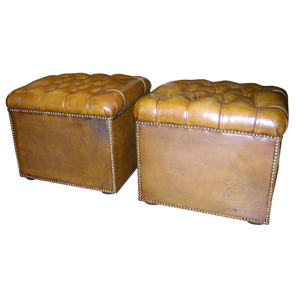 Pair Of Tuffted Leather Rectangular Ottomans At 1stdibs