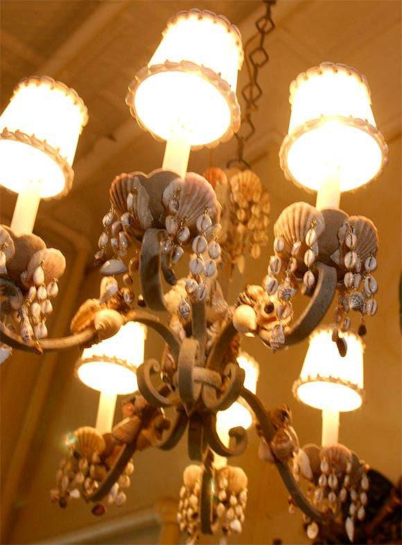 Rococo Shell Encrusted Iron Chandelier For Sale