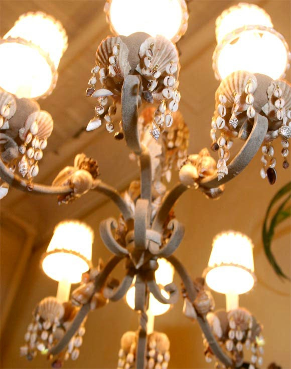 French Shell Encrusted Iron Chandelier For Sale