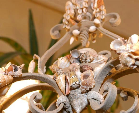 20th Century Shell Encrusted Iron Chandelier For Sale