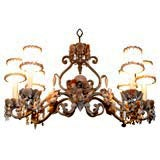 Shell Encrusted Iron Chandelier