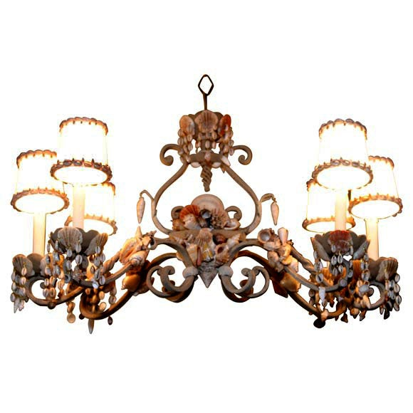 Shell Encrusted Iron Chandelier For Sale