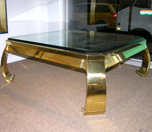 Elegant Brass And Glass Coffee Table: Elegant Coffee Table In Polished Brass With Glass Top At