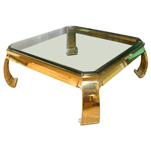 Elegant Coffee Table In Polished Brass With Glass Top At 1stdibs