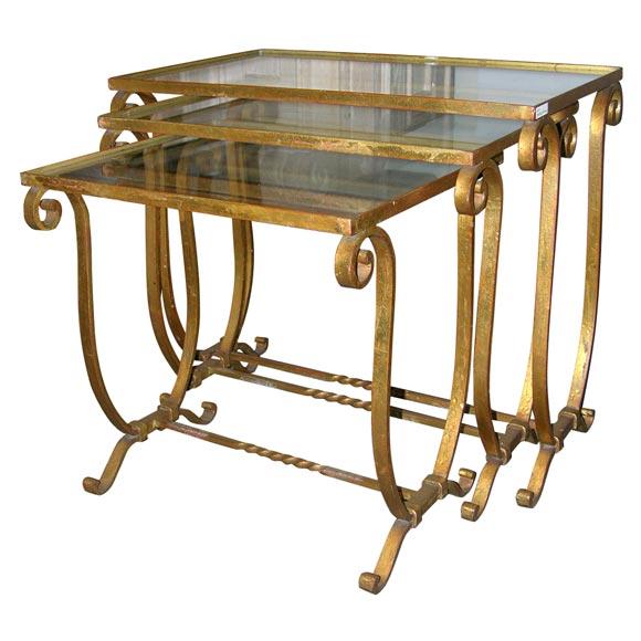 Gilt wrought iron art deco nesting tables at stdibs