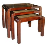 Nest of three Rosewood tables by Jules Leleu