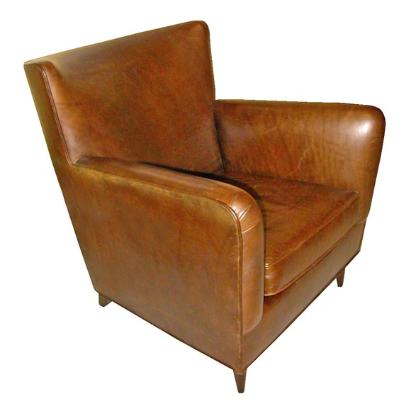 Custom Made To Order Shaldrone Brown Leather Club Chairs